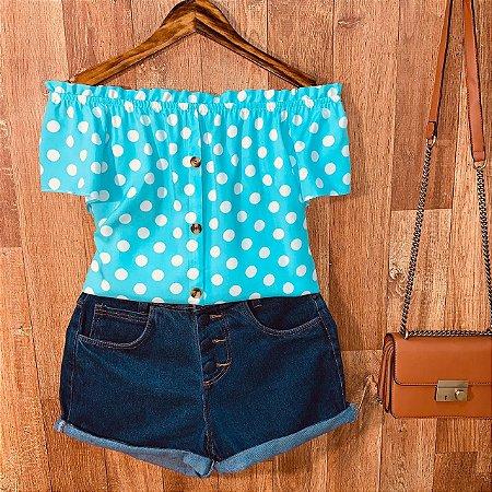 Blusa Ciganinha com Botões Deborah Poá Azul Claro