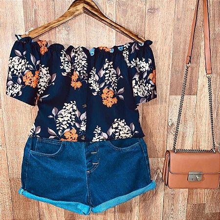 Blusa Ciganinha com Botões Deborah Floral Azul Marinho