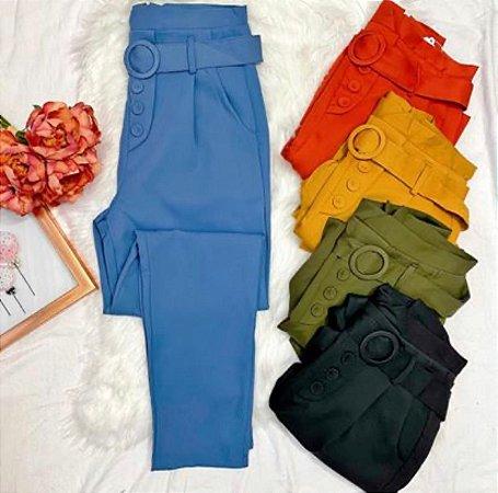 Calça Cós Alto Tecido com Cinto Azul