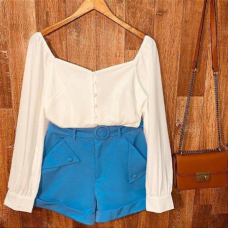 Short Tecido Fashion Deborah Azul