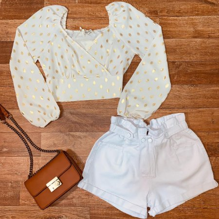 Short Jeans Cós Alto Branco
