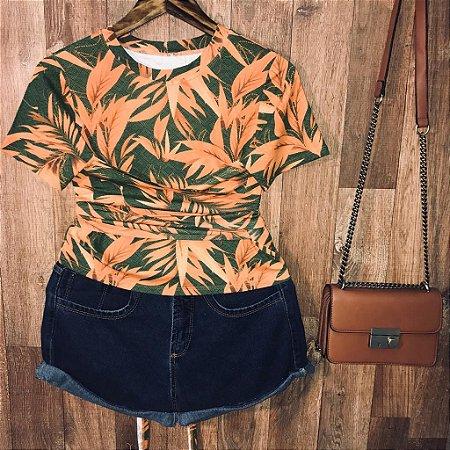 T-shirt com laço transpassado Folhas