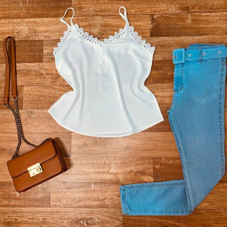 Calça Jeans Skinny Top com cinto