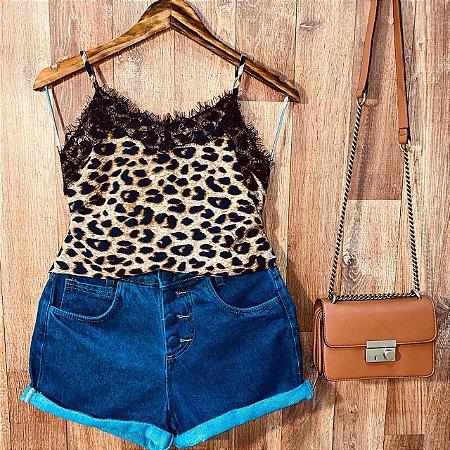 Blusa Alcinha com Renda Alice Animal Print Fashion