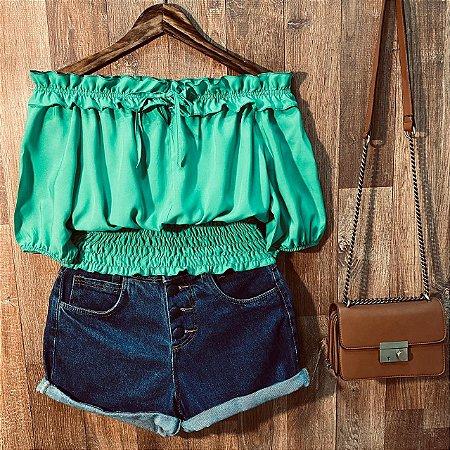 Blusa Ciganinha Cropped com Lastex Tatiana Verde