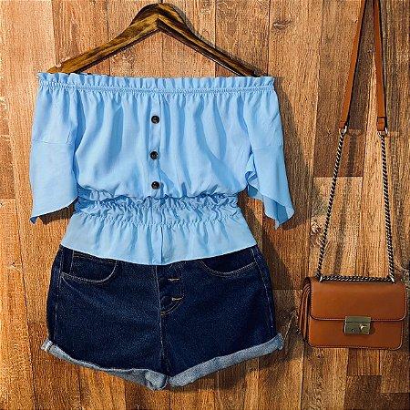 Blusa Ciganinha com Botões Lastex Tatiana Azul Claro