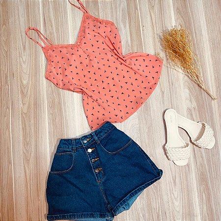 Blusa de Alcinha Luana Flamingos Coral
