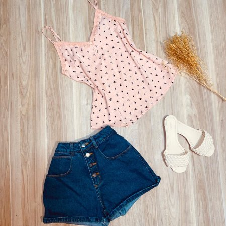 Blusa de Alcinha Luana Flamingos Rosê