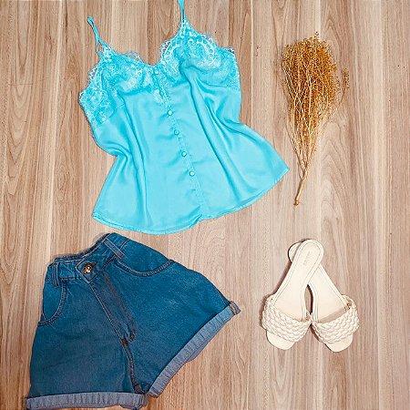 Blusa de Alcinha com Detalhes em Renda Luana Azul Claro