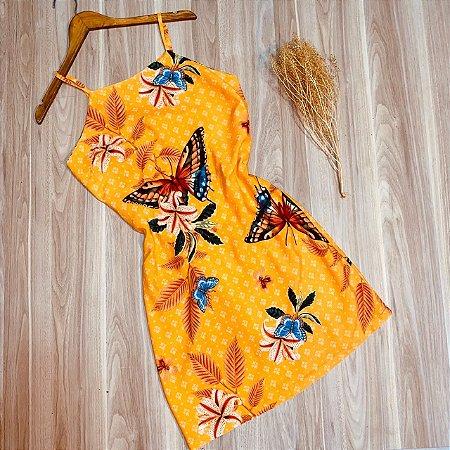 Vestido Alcinha Midi Borboletas Luana Amarelo