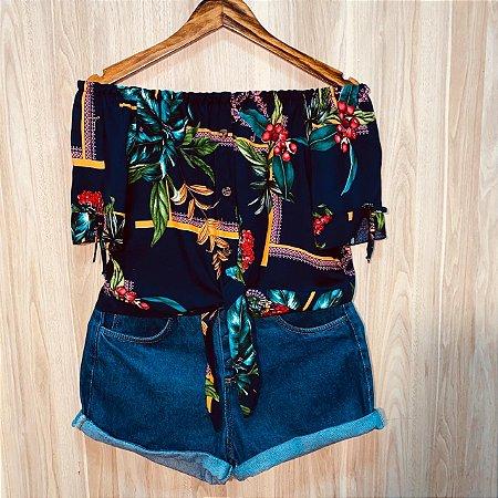Blusa Ciganinha Cropped de amarrar Luana Florida Azul