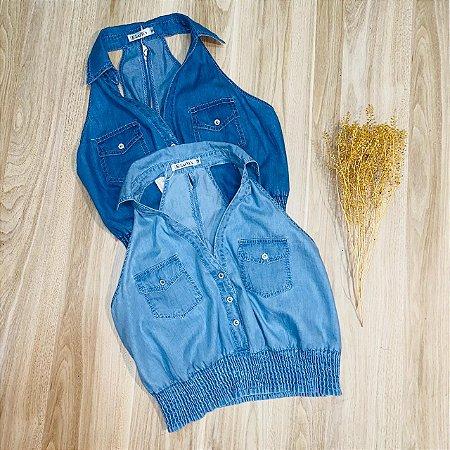 Blusa Cropped com Lastex e Botões Luana