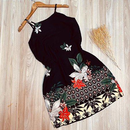 Vestido Alcinha Curto Flores Rebeca Preto