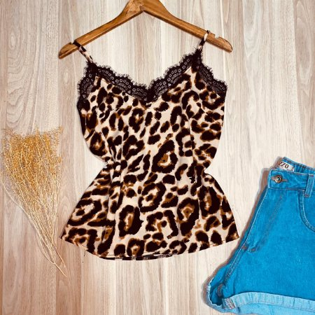 Blusa Alcinha com Renda Rebeca Animal Print Top