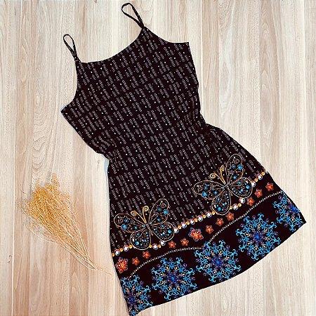 Vestido Alcinha Curto Rebeca Butterfly Preto
