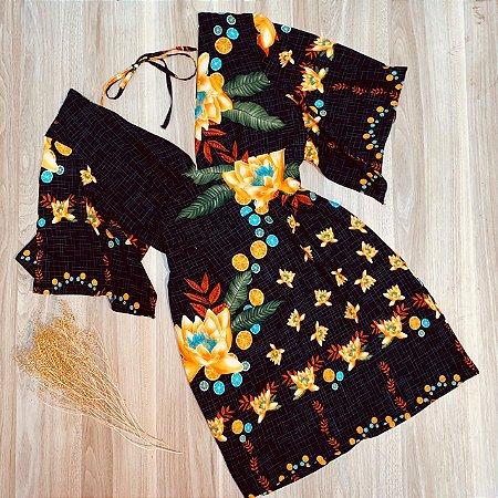 Vestido Curto Decote V com Lacinho de Amarrar Rebeca Black