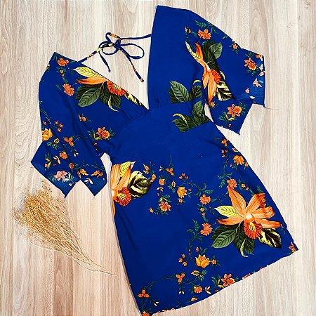 Vestido Curto Decote V com Lacinho de Amarrar Rebeca Azul