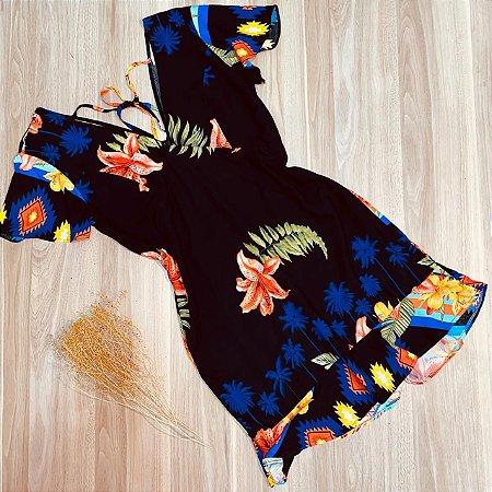 Vestido Curto Decote V Babado Mariah Tropical Preto