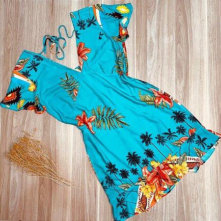 Vestido Curto Decote V Babado Mariah Tropical Azul Claro