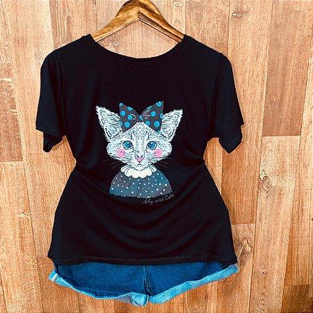 Camiseta Gatinha De Laço