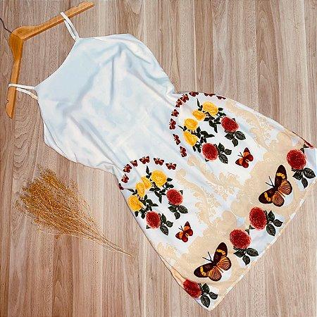 Vestido Alcinha Curto Monalisa Borboletas Floral White