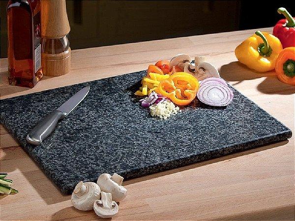 Tábua De Carne Corte Cozinha Churrasco De Granito Preto 55 cm x 30 cm x 2cm