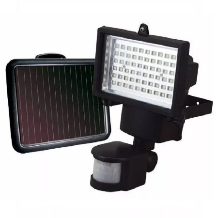 Refletor Solar 60 Leds Sensor Movimento (Luminaria + Painel Solar + Sensor + Cabo)