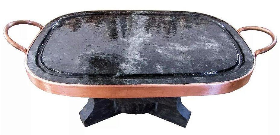 Fondue Kit 32 Cm Com Rechaud À Álcool E Chapa De Carne Pedra Sabão