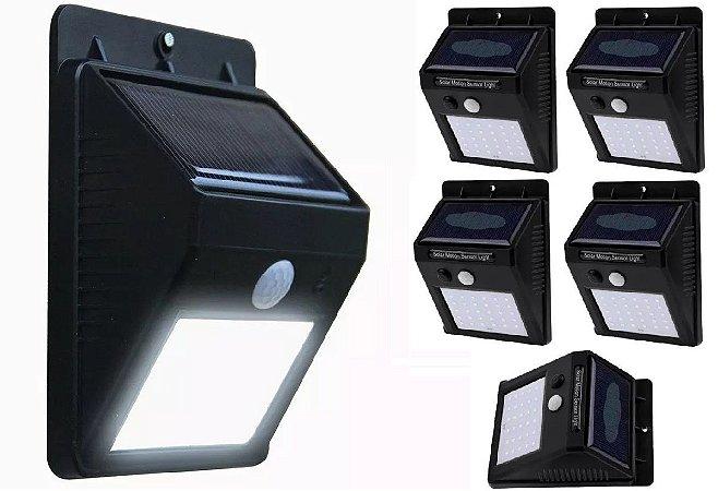 Kit 5x Luminária Solar De Parede 20 Leds Com Sensor Presença