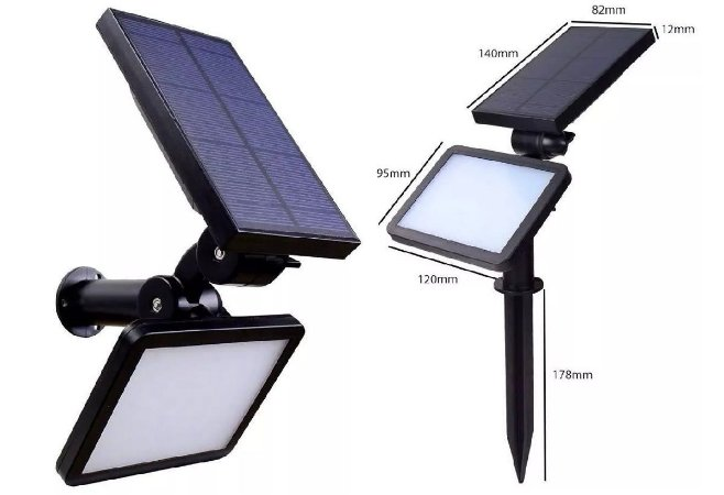 Luminária Holofote Solar Fotovoltaica Jardim E Afins 60W
