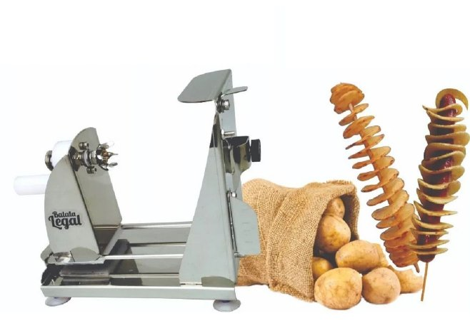 Máquina De Cortar Batata Espiral Com Regulagem De Espessura