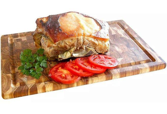 Tabua De Carne Churrasco Prancha De Corte Teca 44cm X 29,5cm