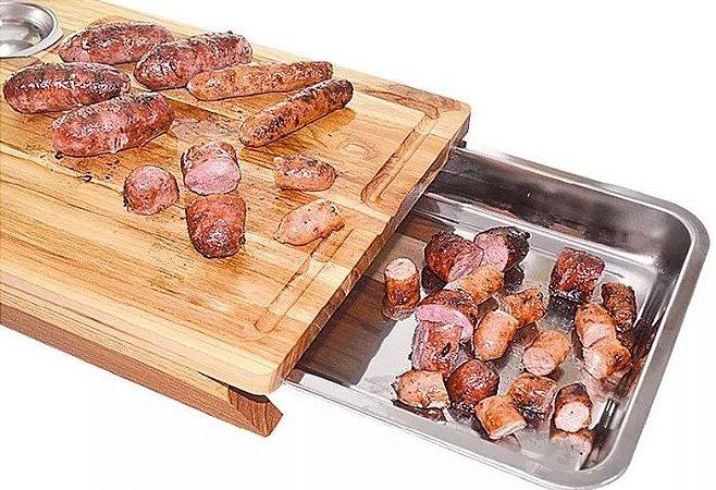 Tábua De Carne Com Gaveta Inteligente Teca 2 Molheiras + 1 Gaveta 44x30