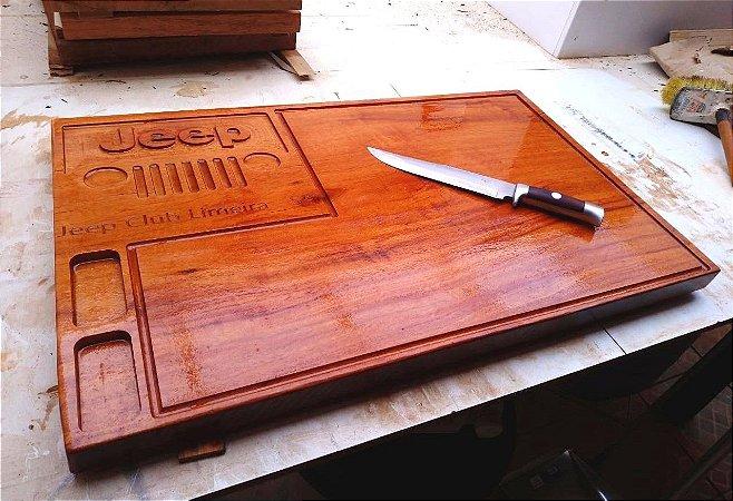 Tábua De Carne Personalizada Exclusiva De Madeira Churrasco Corte Cozinha 30x50x3cm