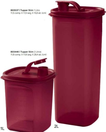 Kit Tupper Slim Tupperware Porta Mantimentos 1 Litro E 2 Litros