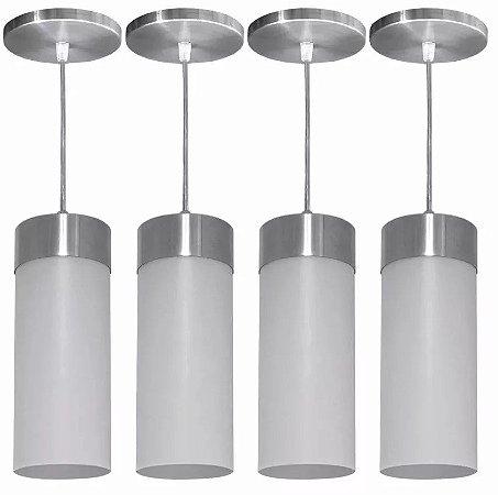 Luminárias Kit 4 Pendentes Copo Lustre Cone Cilindro Balcão Teto Mesa Sala Cozinha