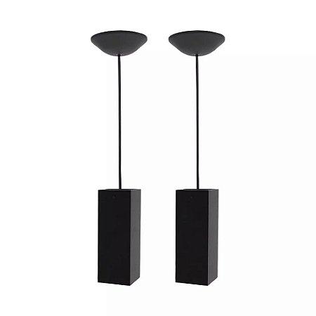 Luminárias Kit 2 Pendentes Tubo Quadrado Bancada Balcão Cozinha Preto