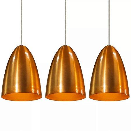 Kit 3 Lustres Pendentes De Teto Mesa Cone De Aluminio Tom Cobre C/ E-27 Sala Cozinha Quarto