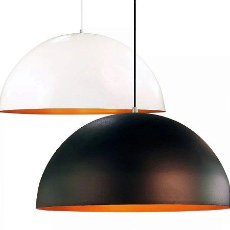 Luminaria De Teto Mesa Sala Cozinha Lustre Pendente Meia Lua Onix Cobre Alumínio 40cm Orby