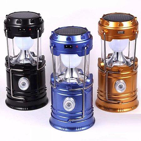 Kit 3 MINI Lampião Luminária Lanterna Solar De Led Carrega Celular