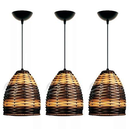 Kit 3 Lustres Pendente Luminária De Mesa Teto Cozinha Sala Rústica Em Junco Modelo Taça Tons