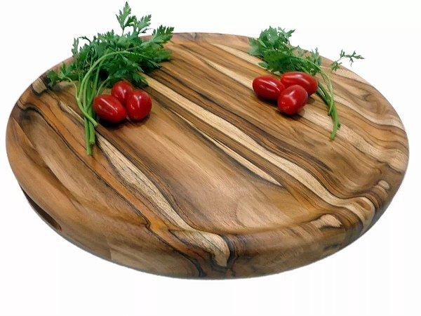 Tabua De Carne Corte Para Churrasco E Frios Em Madeira 39cm Redonda