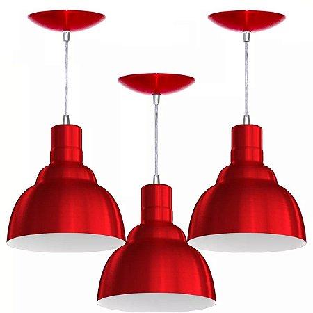 Luminárias Kit 3 Pendentes PRV Lustres De Teto Para Balcão Mesa Cozinha Sala Quarto