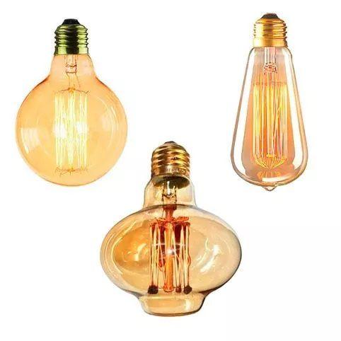 Trio De Lampadas Luminaria Pendente Lustre Retrô De Filamento De Carbono