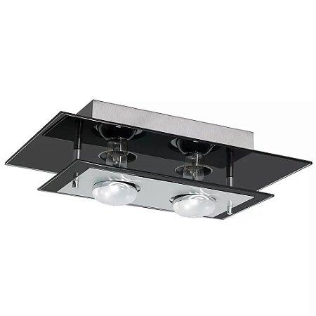 Lustre Luminária De Teto Em Vidro E Alumínio Para Sala Quarto Cozinha Para 02 Lâmpadas