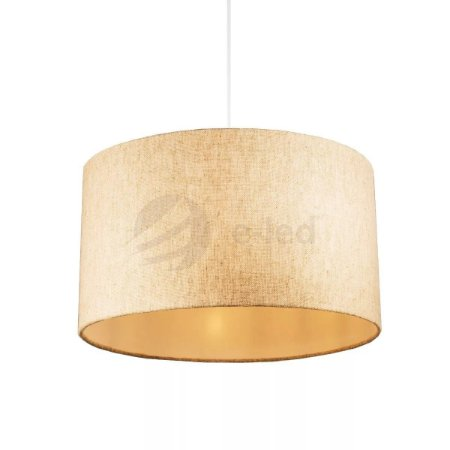Lustre Luminária Pendente Redondo Cúpula De Tecido 30x20 Palha Crua Teto Mesa Sala Cozinha