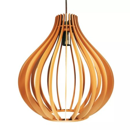Luminaria Pendente Cor Madeira Gota 35cm Com Soquete E-27 Teto Mesa Sala Cozinha