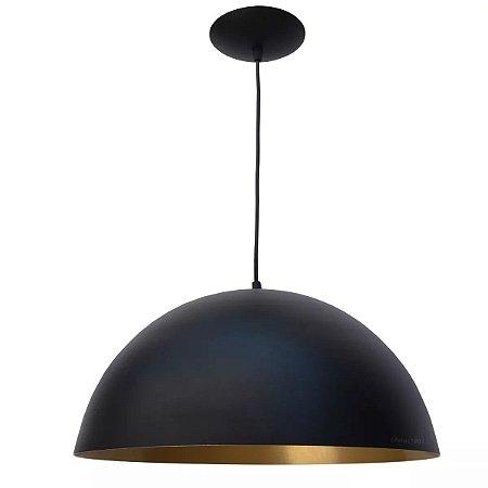 Luminária Pendente Bola Meia Esfera Ônix Preto E Dourado Alumínio 30cm Lustre Teto Mesa Sala Cozinha Balcão