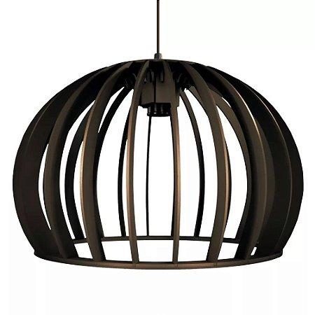 Luminária Pendente De Madeira Mod Esfera Lustre C/ Soquete E-27 De 39cm Teto Mesa Sala Cozinha