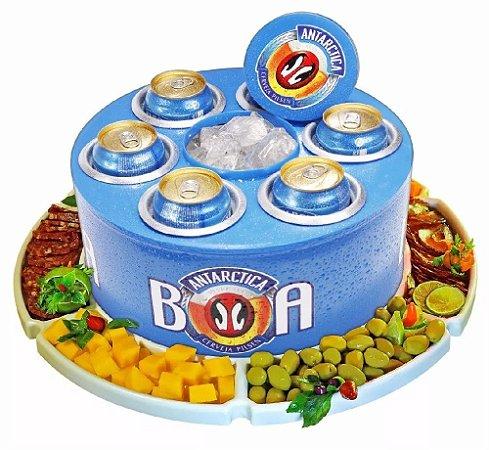 Petisqueira Giratória + Cooler 6 Porta Latas Cerveja Long Neck Kit Churrasco